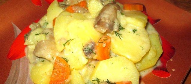 Тушеные грибы с картошкой с пошагово в