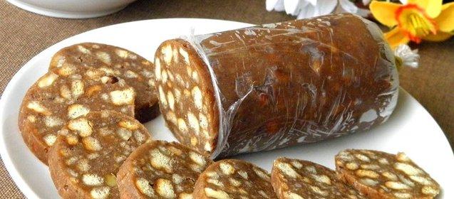 Шоколадная колбаса рецепт с фото пошаговый рецепт со сгущенкой