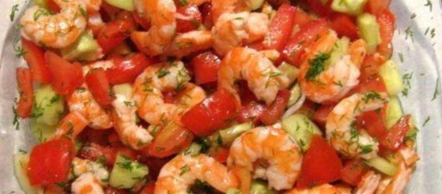 Салат овощной с креветками рецепты с