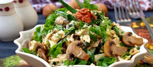 Салат из шампиньонов и сыра рецепт с