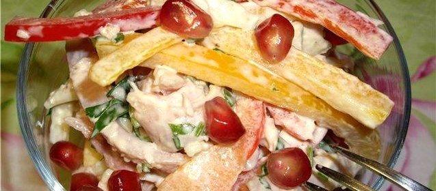 Салат с копченой курицей и помидорами рецепт с пошагово