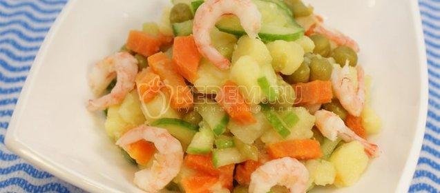 Салат с креветками и майонезом пошагово