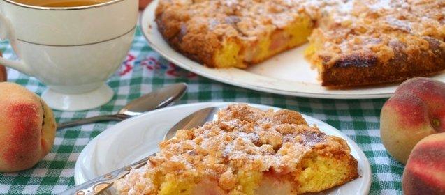 Пирог персиками рецепт фото пошагово
