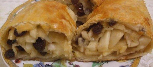 Слоеный яблочный пирог рецепт с пошагово в духовке