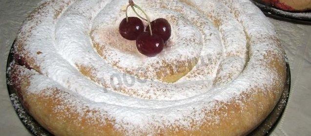 Открытый пирог с вишней рецепт пошагово в духовке