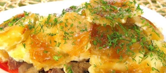 Мясо с картошкой луком грибами в духовке рецепт