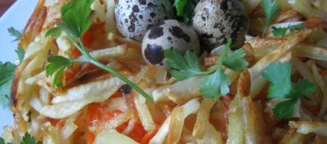Салат гнездо глухаря пошаговый рецепт с с грибами