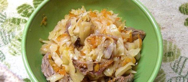 Капуста тушеная с мясом и овощами рецепт