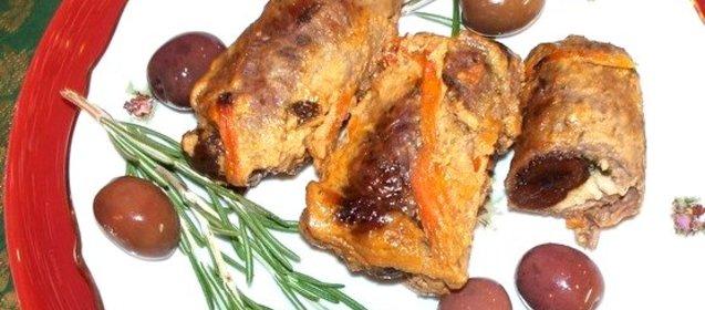 Рецепт рулета из говядины с черносливом