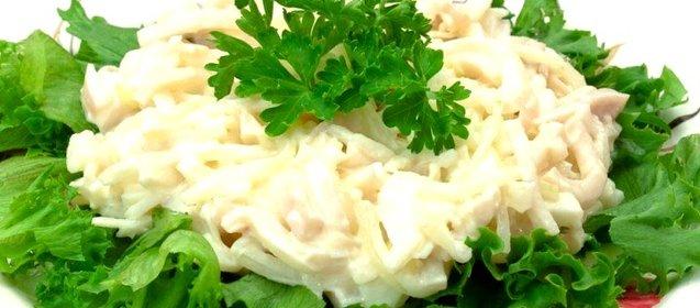 Салат из кальмаров с рисом рецепт с пошагово