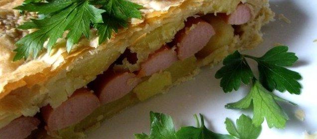 Пирог с сосисками рецепт с пошаговый рецепт с