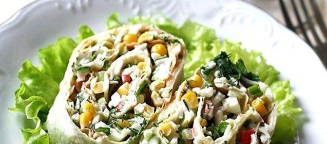 Салат с крабовыми палочками в лаваше рецепт