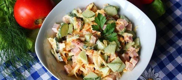 Салат с ветчиной с фото простые и вкусныеы фото