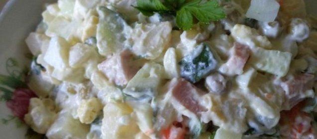 оливье колбасой пошаговый рецепт фото